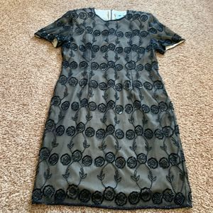 Papell Boutique Evening 12 black nude beaded dress